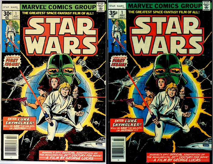 Cover price variant comics example: Star Wars #1